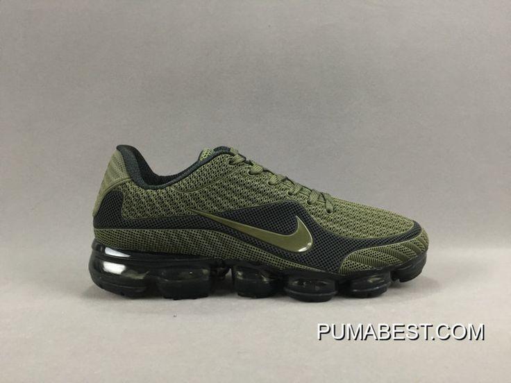 ddd33e329d3b Nike Air VaporMax Flyknit Kpu Olive Green Black Men Running Shoes