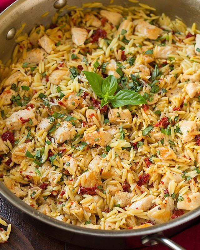 for this delicious dinner - Sun Dried Tomato, Basil and Parmesan Orzo ...