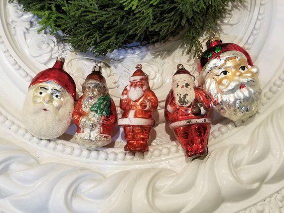 Old Santa Ornament Lot Vintage Set Of 5 Plastic Glass Santa Ornaments Ornaments Vintage Ornaments