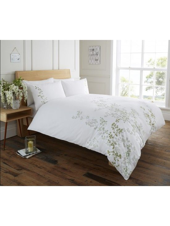 Life From Coloroll Eva Embroidered Leaf Duvet Set Green Ponden Homes Homedecor Interiors