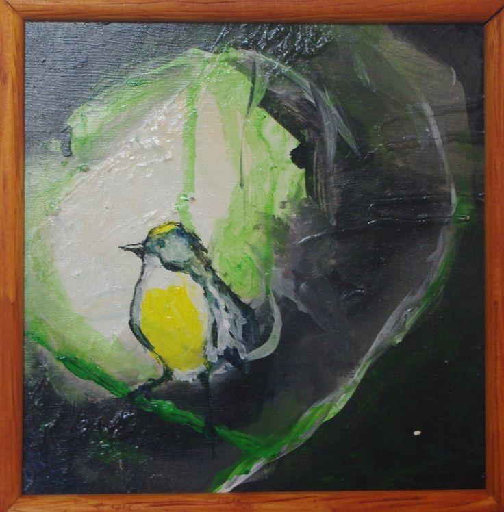 """""""THE BIRD"""" Acrílico sobre terciado 20 x 20 cms."""