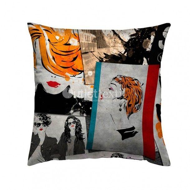 Cojín Decorativo 9108B Zebra Textil. Moderna y original funda de cojín de estampado digital que quedará perfecta en tu habitación si la combinas con el cojín 9108A y la funda nórdica 9008 Zebra Textil.