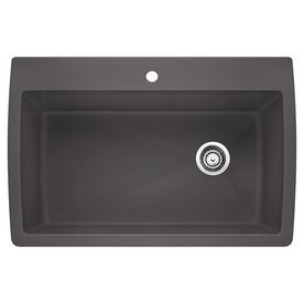BLANCO Diamond 22-in x 33.5-in Cinder Single-Basin Granite Drop-in or Undermount 1-Hole Residential Kitchen Sink