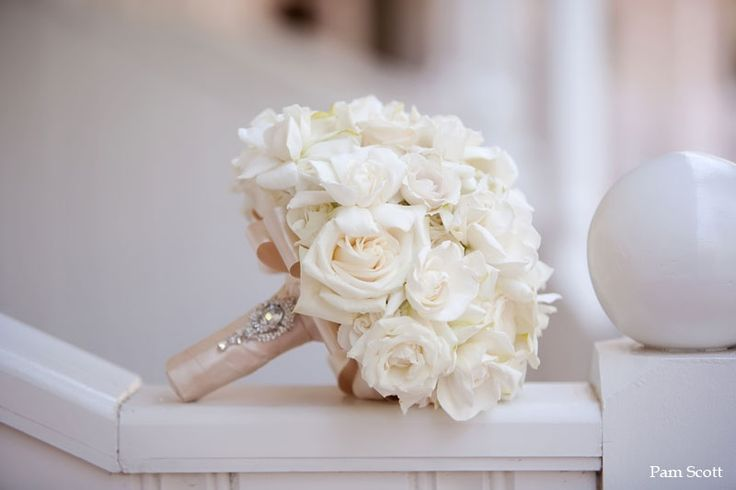 White bridal bouquet with crystal brooch from Karen Tran [Peonies instead of Roses]