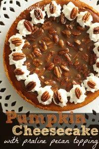 Pumpkin Cheesecake with Praline Pecan Topping - Sweet Treat Eats