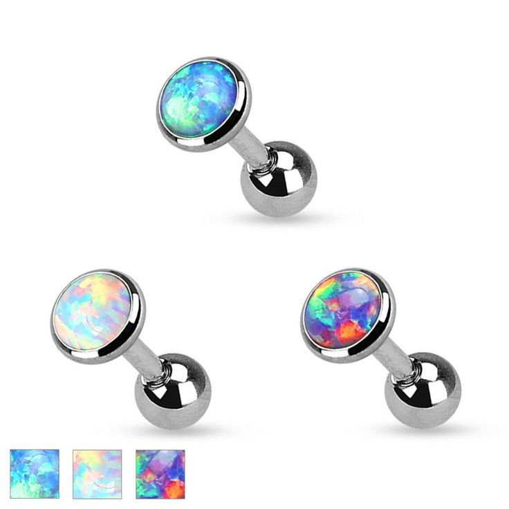 "Opal Set Flat Top 316L Surgical Steel Cartilage/Tragus Barbell Specifications: 16ga 1/4"" barbell 316L Surgical Stainless Steel 4mm Opal Set top Choose Your Color"