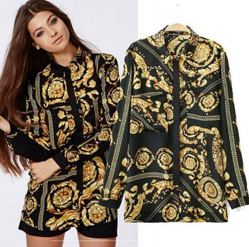 Women Plus Size Blouse Long Sleeve Autumn Winter New Vintage Print Blusa Social Feminina Blouses Women