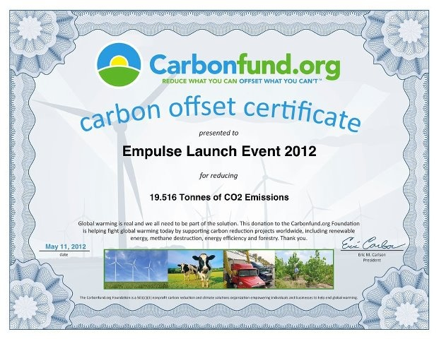 Carbonfund.org Carbon offset certificate. #Brammo