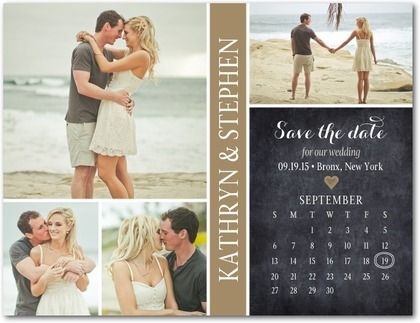 Send a Save the Date your guests can't possibly forget - full of sweet photos of the bride and groom. This design is available as a Save the Date magnet, as well.