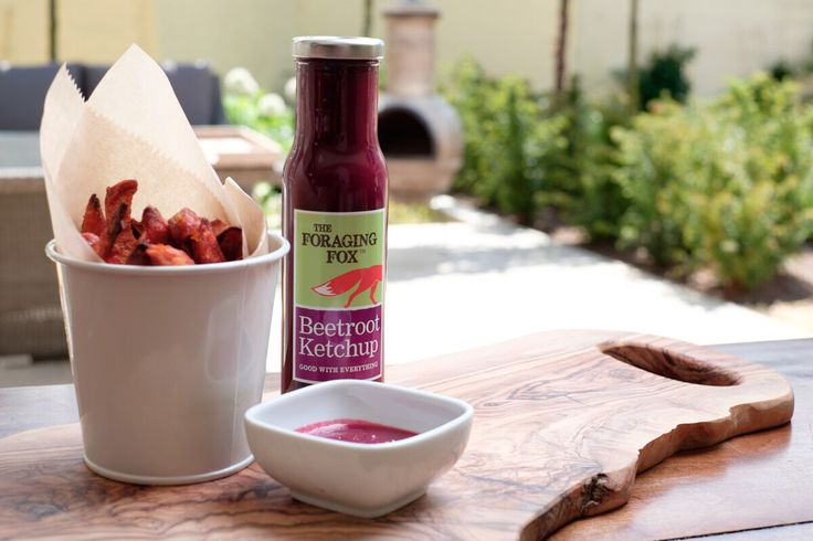 The Foraging Fox Beetroot Ketchup with Sweet Potato Fries.