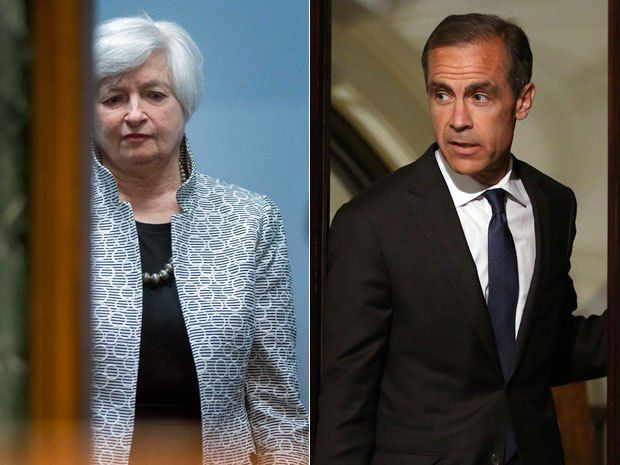 The minutes from this month's Bank of England (BOE) meeting on Wednesday revealed that two members of the Monetary Policy Committee voted for an immediate 0.25% rate increase, the first dissent at the central bank since July 2011. Also on Wednesday, the U.S. Federal Reserve released the minutes of its July 29-30 meeting and they showed that hawkish dissent is more widespread than expected. Above, Fed Governor Janet Yellen and BOE Governor Mark Carney.