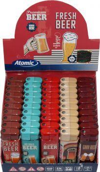RZOnlinehandel - Atomic Elektronik Feuerzeug Nachfüllbar Beer - sortiert - 50 Stück