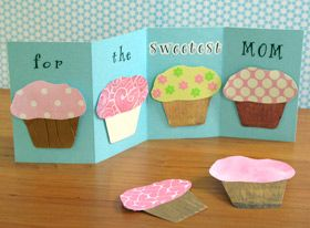 mother's day craft - kids could even decorate a cupcake for their mom to give with the cute card, or make a homemade cupcake mix