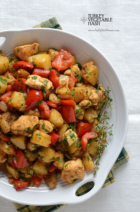 Turkey Vegetable Hash - easy recipe that uses leftover Thanksgiving turkey and can be made for breakfast or dinner