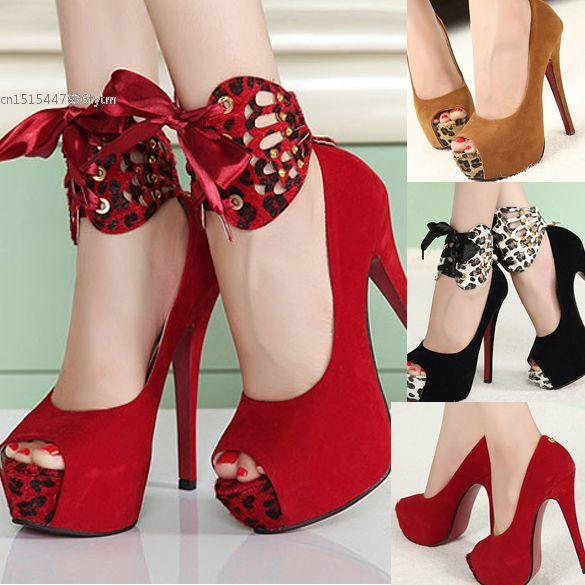 Nova moda mulheres sandálias de salto alto plataforma bombas Peep Toe sapatos 2 cores 13374 alishoppbrasil