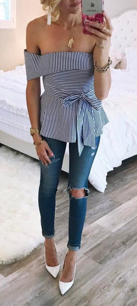 simple ootd top + rips + heels #womenclothing