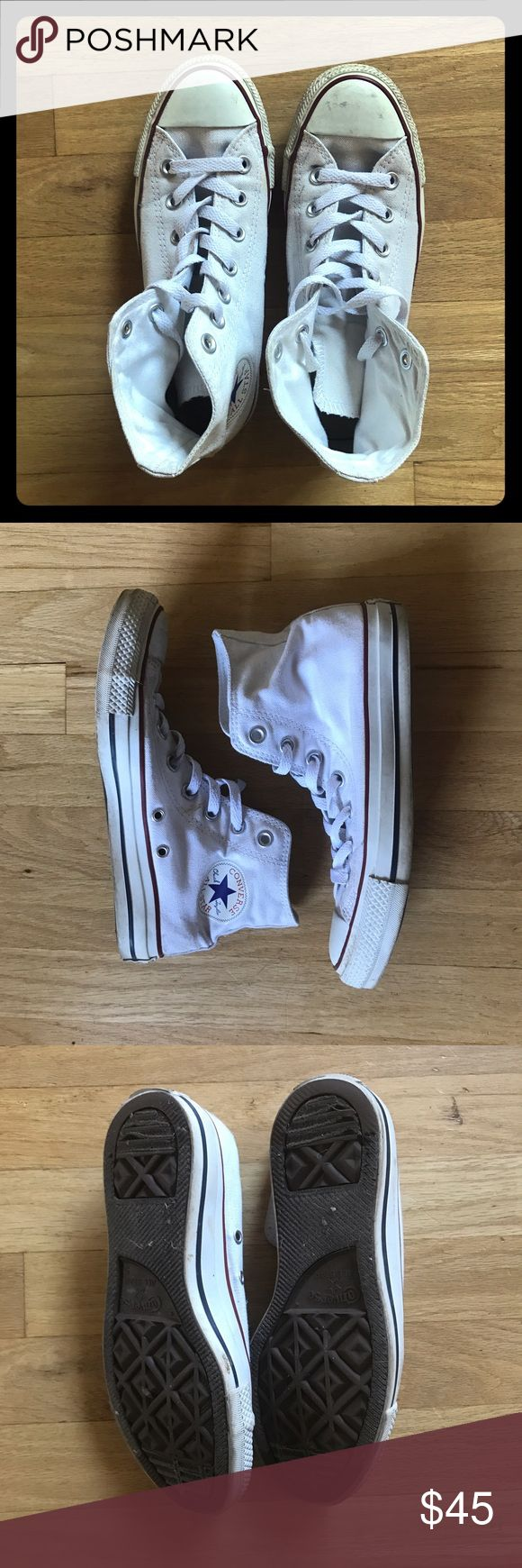 Converse Chuck Taylor high top shoes EUC only worn about 10 times. Converse Chuck Taylor white high tops. Women's 7, Men's 5. Run a little big like all Converse. I just prefer the low top version. Converse Shoes Sneakers
