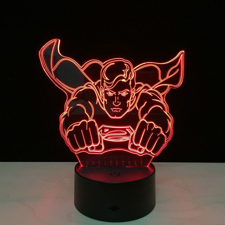 Hot Super Man Model Toy Avengers Superman 3D Touch Night Light Kids Room Bedside Table Lamp USB LED Lighting Gadget Home Decor