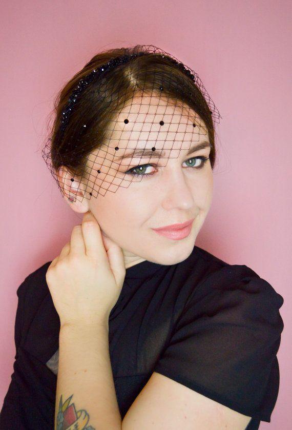 Black Birdcage Veil  Crystal Headband  Old by JanaRoyaleDesign