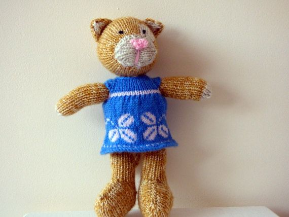 Knitted Ginger Cat Knitted Pussycat Stuffed by TabbyCatCraftsShop
