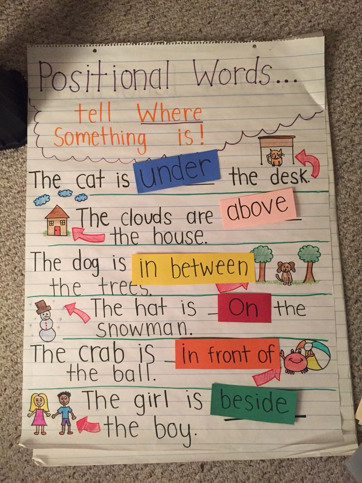 Teaching positional words using an interactive anchor chart with Velcro strips! (picture only)