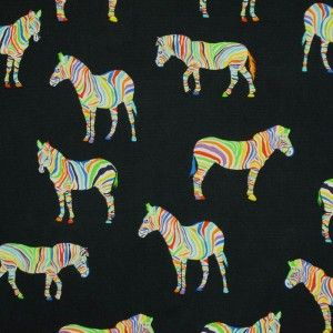 Zebras On Black Cotton Fabric