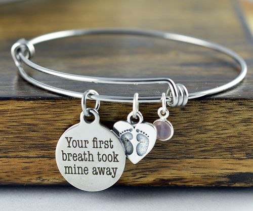 Your First Breath Took Mine Away - Hand Stamped Jewelry - Personalized Mother's Bracelet - Mothers Day - Mothers Jewelry - Gift for Mother