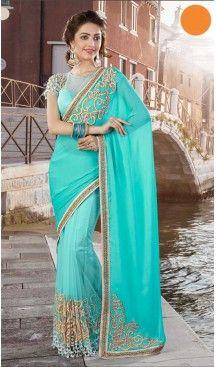 Turquoise Color Georgette Party Wear Saris Blouse | FH529980078 #traditional #ethnic #ootd #fashion #makeup #mua #hair #lehenga #saree #sari #jewellery #jewelry #asian #asia #wedding #weddingphotography #asianwedding #asianbride #bridal #bride #weddingbells, #love #fashion #india #wedding #floral #sari #desi #blouse #bollywood #weddings #couture #style #dress #editorial #designer #punjabisuit #makeup #sisters #satin #indianbride #beautiful #bride @heenastyle