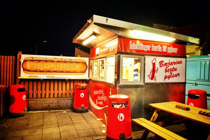 """Bæjarins Beztu Pylsur - The stand (the name translates to """"the best hot dog in town"""") is a Reykjavik institution; expect a line regardless of whether it's before sunrise or after. Whatever the hour, order one with everything: fried onions, raw onions, ketchup, rémoulade, sweet Icelandic mustard (380 kronur). (NYT 36 Hours)"""