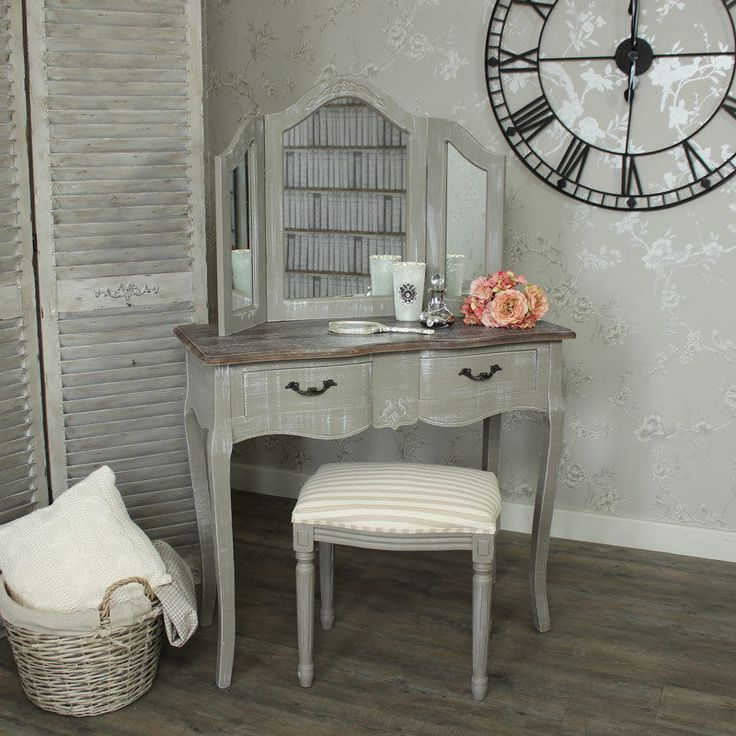 grey dressing table set mirror stool vintage home bedroom furniture distressed in Home, Furniture & DIY, Furniture, Dressing Tables | eBay!