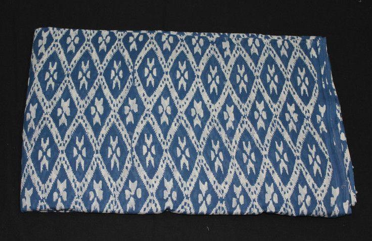 2.5Yard Hand Block Print Vegetable Dye Indigo Blue Ikat Print Cotton Dabu Fabric #Handmade