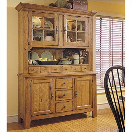Broyhill Attic Heirlooms China Base And Hutch In Natural Oak Stain Dining Room CabinetsDining BuffetGlass