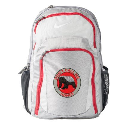 #Don't Call Me Honey Honey Badger Red Feminist Art Nike Backpack - #travel #accessories