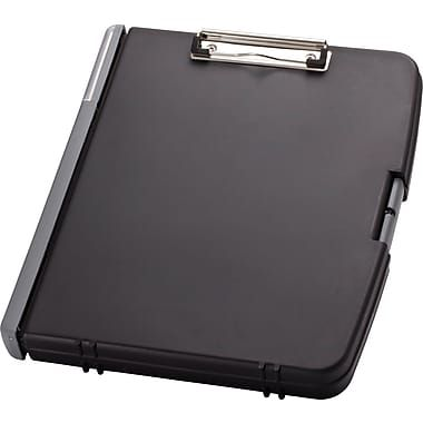"OIC® 3-Ring Storage Clipboard, Charcoal, 12"" x 13"""