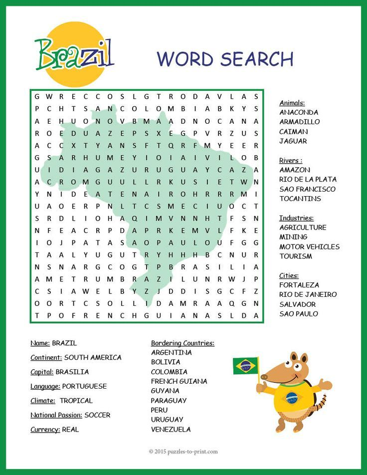 A word search puzzle featuring geographical features and interesting facts about Brazil. Puzzlers will be learning about this important country while they are searching for the words in this printable activity.