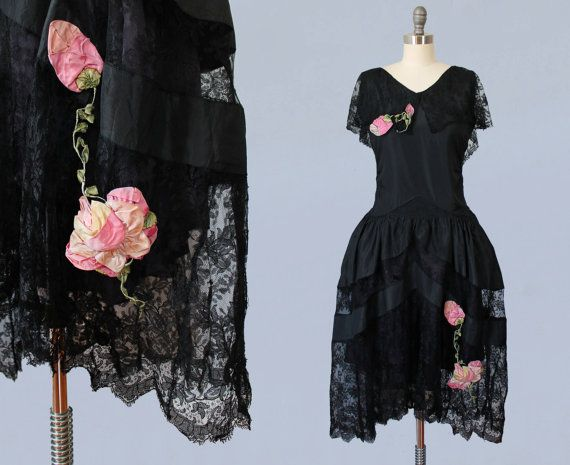 RESERVED Rare! 1920s Dress / 20s ROBE de STYLE / Silk Rosettes / Black Lace and…