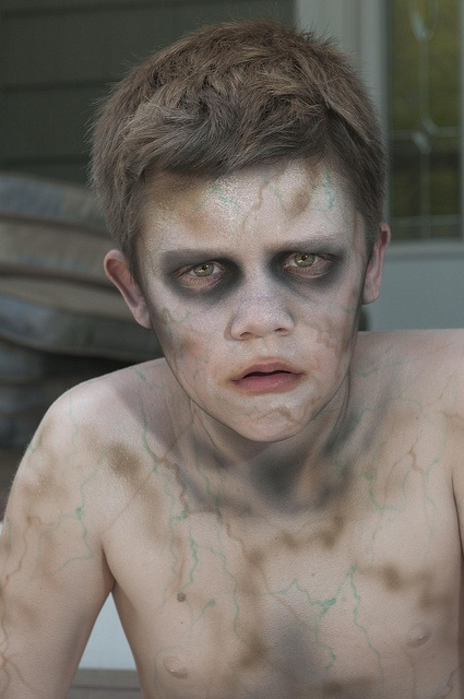 Non-bloody kid's zombie makeup.... Kinda frightening if ya ask me