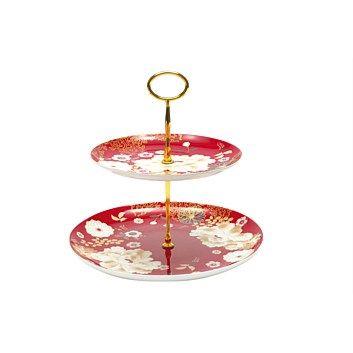 Serving Dishes & Serveware - Briscoes - Maxwell & Williams Kimono Red Cake Stand 2 Tier
