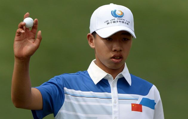 http://visionsport.co.uk/wordpress  14-year-old Guan Tianlang, the youngest golfer to ever play the Masters, shoots 1 over in 1st round (via CBS Sports; photo via Getty Images)