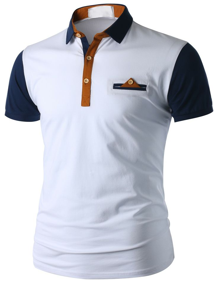 Doublju Men's Short Sleeve Pocket Polo Shirt (CMTTS015) #doublju