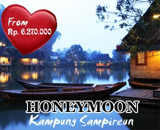 Have a romantic honeymoon with this Kampung Sampireun Honeymoon Package. Starting from IDR 6.270.000. Validity: 30 Juni 2013.