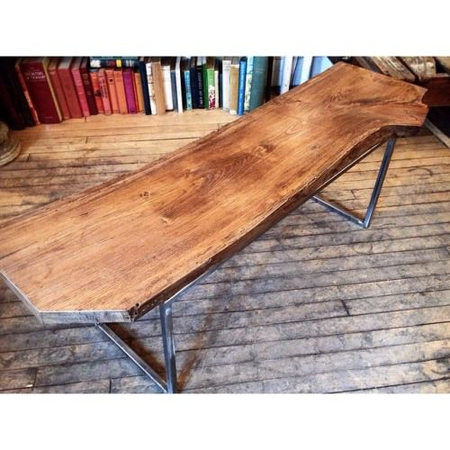 Limited piece.  Live edge salvaged wood, transformed into this gorgeous bench, along with the salvaged steel re-purposed  rectangular frame legs.   SOLD