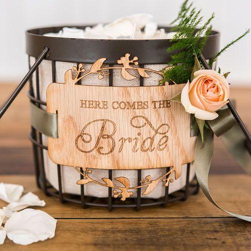"""""""Here Comes The Bride"""" Wood Veneer Flower Girl Basket Sign"""