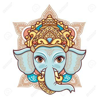 b1fcbf284c30e Hindu elephant head God Lord Ganesh. Hinduism. Happy Ganesh Chaturthi.  Vector elements isolated. Hand drawn paisley background. Indian
