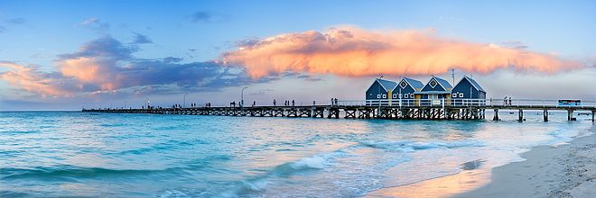 Extending almost two kilometres out over Geographe Bay, the heritage listed Busselton Jetty is the longest timber jetty (pier) in the Southern Hemisphere. Situated in the seaside resort town of Busselton.