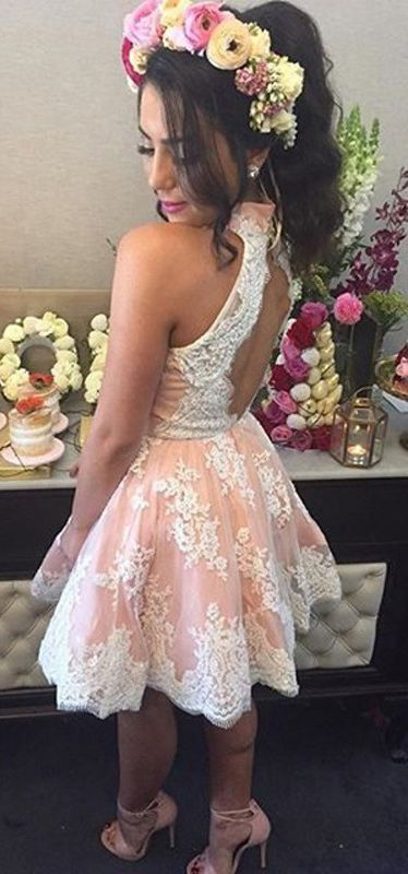 Homecoming Dress Illusion Neck Short Champagne Party Dress With Lace Appliques on Luulla