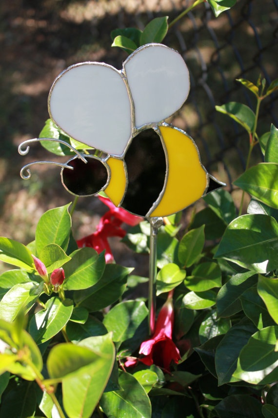 Stained Glass Bumblebee Garden Stake By PrettyNeatGlass On Etsy