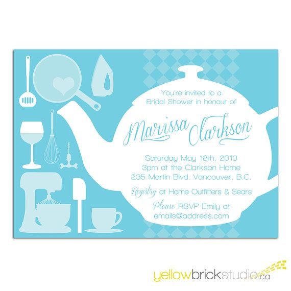 tea pot bridal shower invitation DIY .print out in