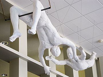 "FLYING TRAPEZE: The 1981 George Segal sculpture, ""Circus Acrobats,"" has been…"
