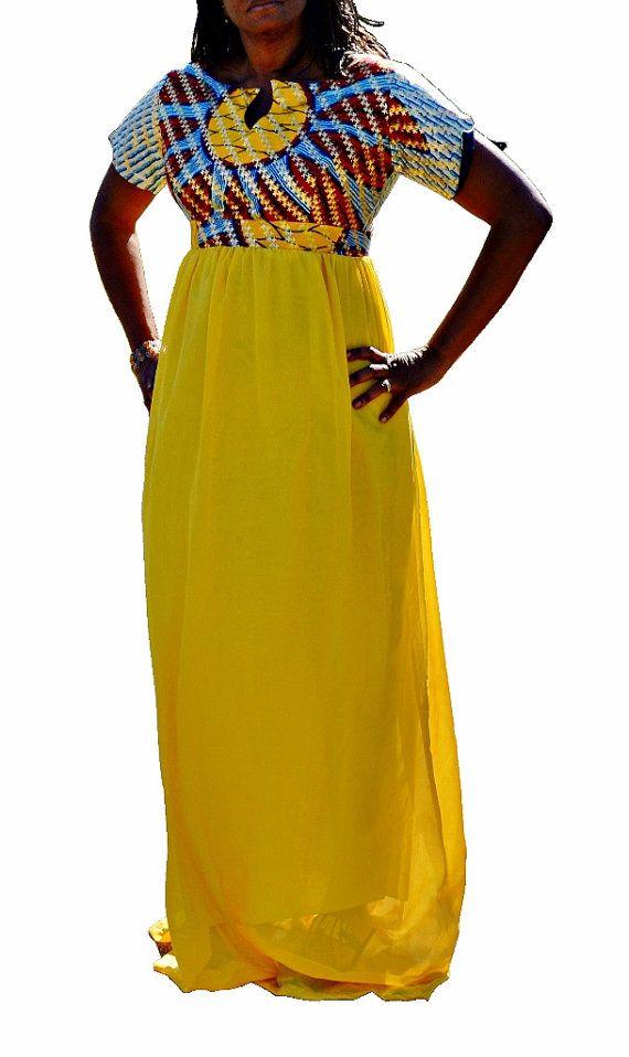 Yellow Ankara and Chiffon African Dress ~African Prints, African women dresses, African fashion styles, African clothing, Nigerian style, Ghanaian fashion ~DK